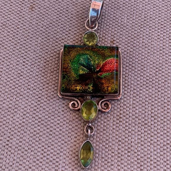 Jewelry - Sterling dichroic glass and peridot pendant